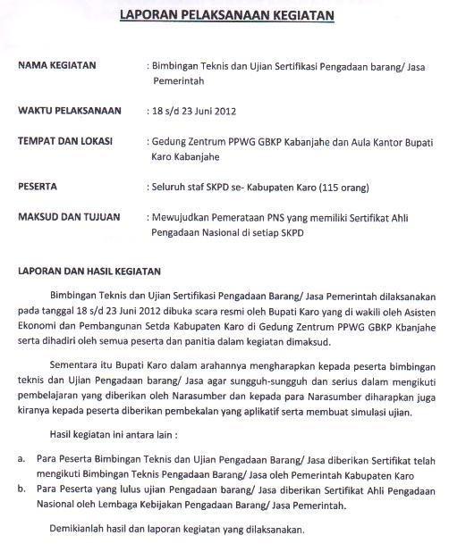 Website Kabupaten Karo Laporan Bagian Bina Program Sekretariat Daerah Kab Karo Perihal Pelaksanaan Kegiatan Bimbingan Teknis Dan Ujian Sertifikasi Pengadaan Barang Jasa Pemerintah